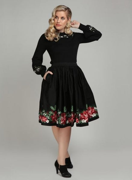 Collectif Jasmine Festive Floral Swing Skirt