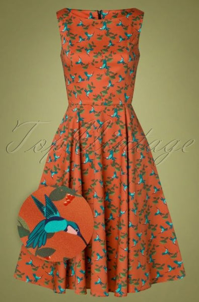 TopVintage Boutique Collection 50s Adriana Hummingbird Swing Dress in Rust