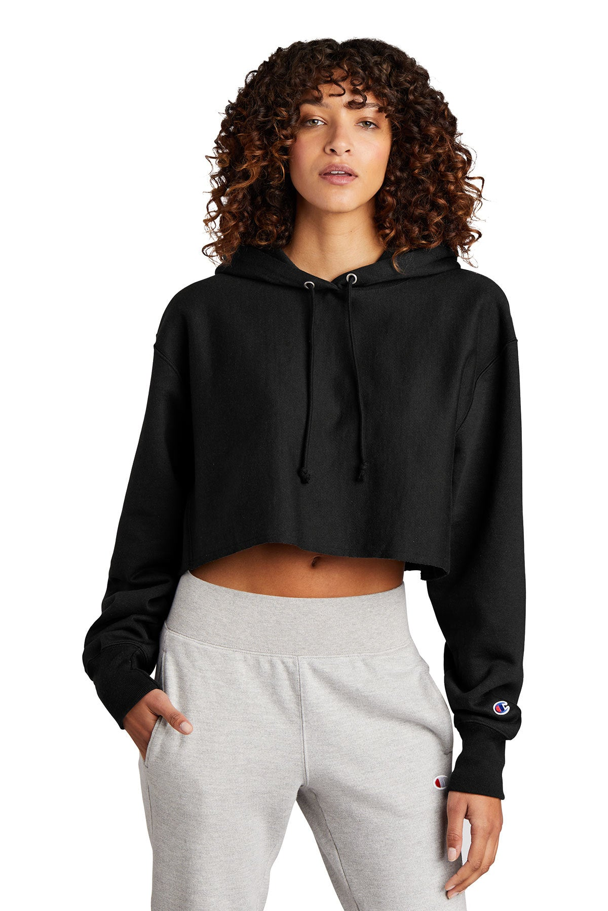Women's Reverse Weave Cropped Cut-Off Hooded Sweatshirt by Champion with the EDP logo