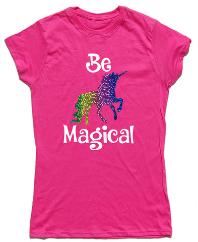 Be Magical Fitted Cotton Unicorn T Shirt - WHAMHEAD CLOTHING - T Shirts & Hoodies