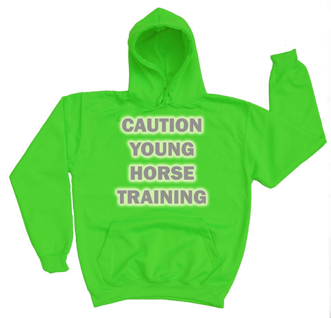 Caution Young Horse Training Reflective Horse Riders Hoodie - THREADS UP CLOTHING - T Shirts & Hoodies