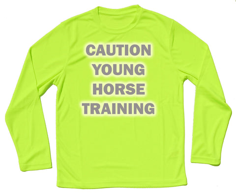 Caution Young Horse Training Reflective Quick Dry Horse Riders Long Sleeve T Shirt - THREADS UP CLOTHING - T Shirts & Hoodies