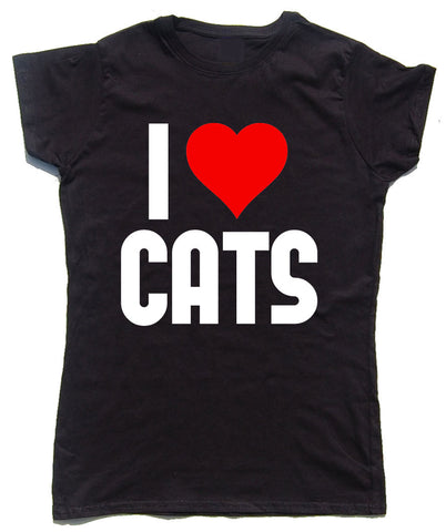 I Love Cats Fitted Cotton Cat T Shirt - WHAMHEAD CLOTHING - T Shirts & Hoodies