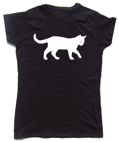 Walking Cat Fitted Cotton T Shirt - WHAMHEAD CLOTHING - T Shirts & Hoodies
