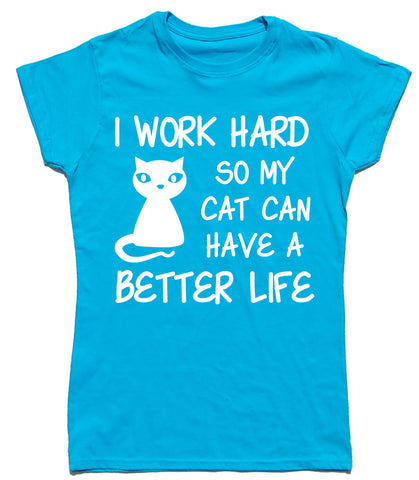 I Work Hard Fitted Cotton Cat T Shirt - WHAMHEAD CLOTHING - T Shirts & Hoodies