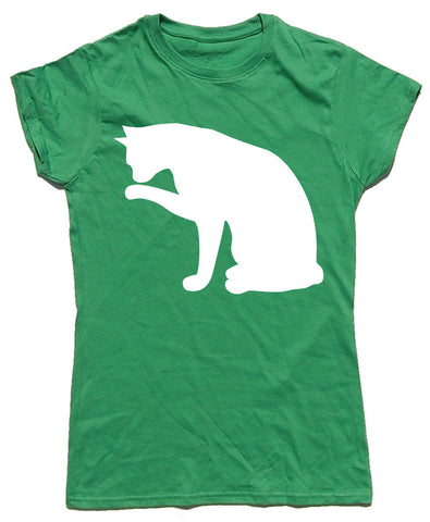 Licking Cat Fitted Cotton T Shirt - WHAMHEAD CLOTHING - T Shirts & Hoodies