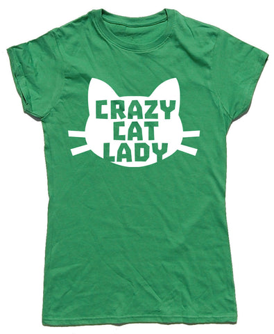 Crazy Cat Lady Head Fitted Cotton T Shirt - WHAMHEAD CLOTHING - T Shirts & Hoodies