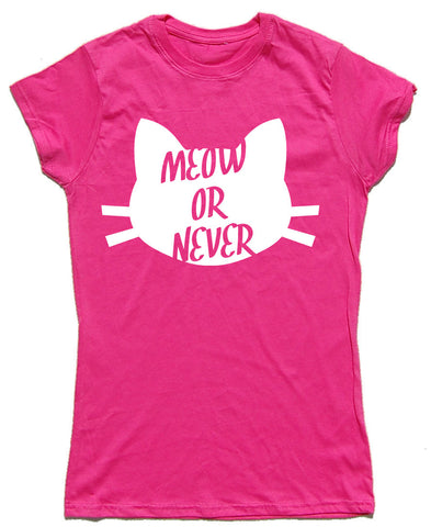Meow Or Never Fitted Cotton Cat T Shirt - WHAMHEAD CLOTHING - T Shirts & Hoodies