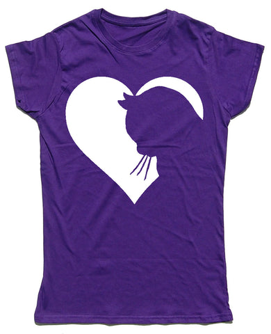 Heart Cats Silhouette Fitted Cotton Cat T Shirt - THREADS UP CLOTHING - T Shirts & Hoodies