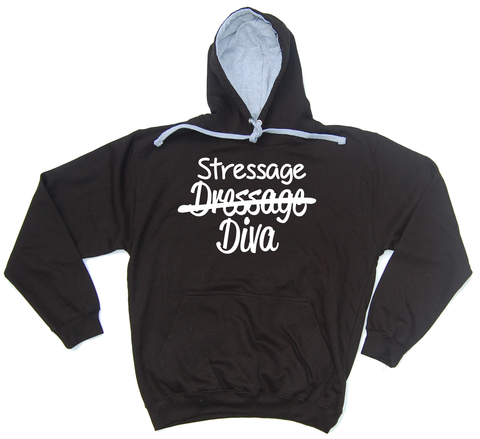 Dressage Stressage Diva Horse Riders Varsity Hoodie - THREADS UP CLOTHING - T Shirts & Hoodies
