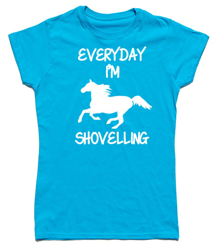 Everyday I'm Shovelling Fitted Cotton Horse Riders T Shirt - WHAMHEAD CLOTHING - T Shirts & Hoodies