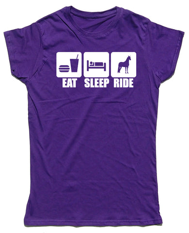 Eat Sleep Ride Fitted Cotton Horse Riders T Shirt - WHAMHEAD CLOTHING - T Shirts & Hoodies