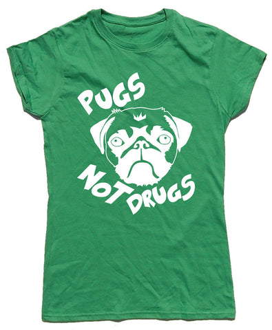 Pugs Not Drugs Fitted Cotton Dog T Shirt - WHAMHEAD CLOTHING - T Shirts & Hoodies
