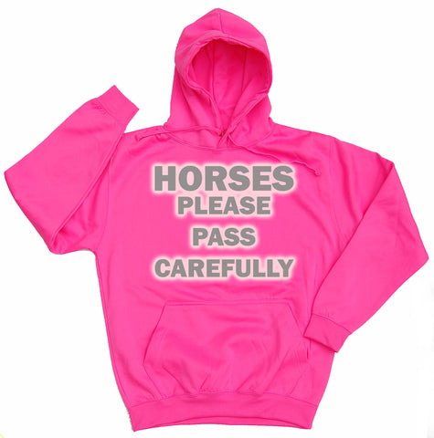 Horses Please Pass Carefully Reflective Horse Riders Hoodie
