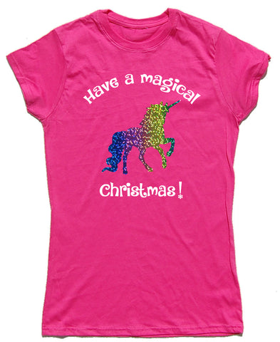 Have A Magical Christmas Fitted Cotton Unicorn T Shirt
