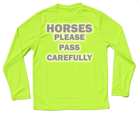 Horses Please Pass Carefully Reflective Quick Dry Horse Riders Long Sleeve T Shirt