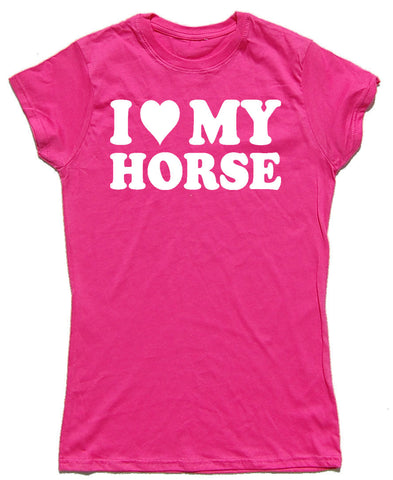 I Heart My Horse Fitted Cotton Horse Riders T Shirt - WHAMHEAD CLOTHING - T Shirts & Hoodies