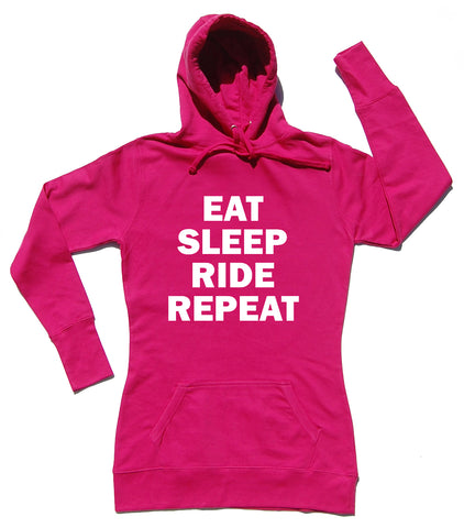 Eat Sleep Ride Repeat Horse Riders Longline Hoodie - WHAMHEAD CLOTHING - T Shirts & Hoodies