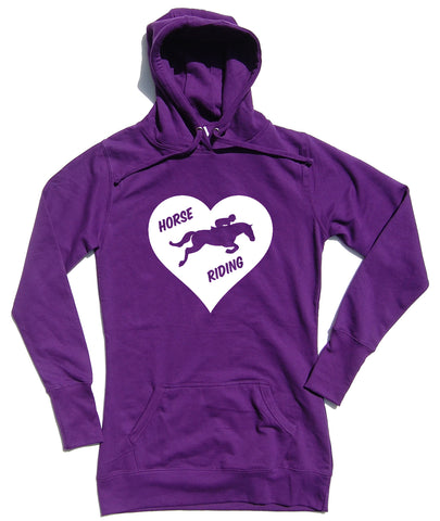 Heart Horse Riding - Horse Riders Longline Hoodie - WHAMHEAD CLOTHING - T Shirts & Hoodies
