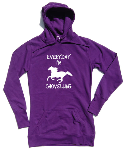 Everyday I'm Shovelling Horse Riders Longline Hoodie - THREADS UP CLOTHING - T Shirts & Hoodies