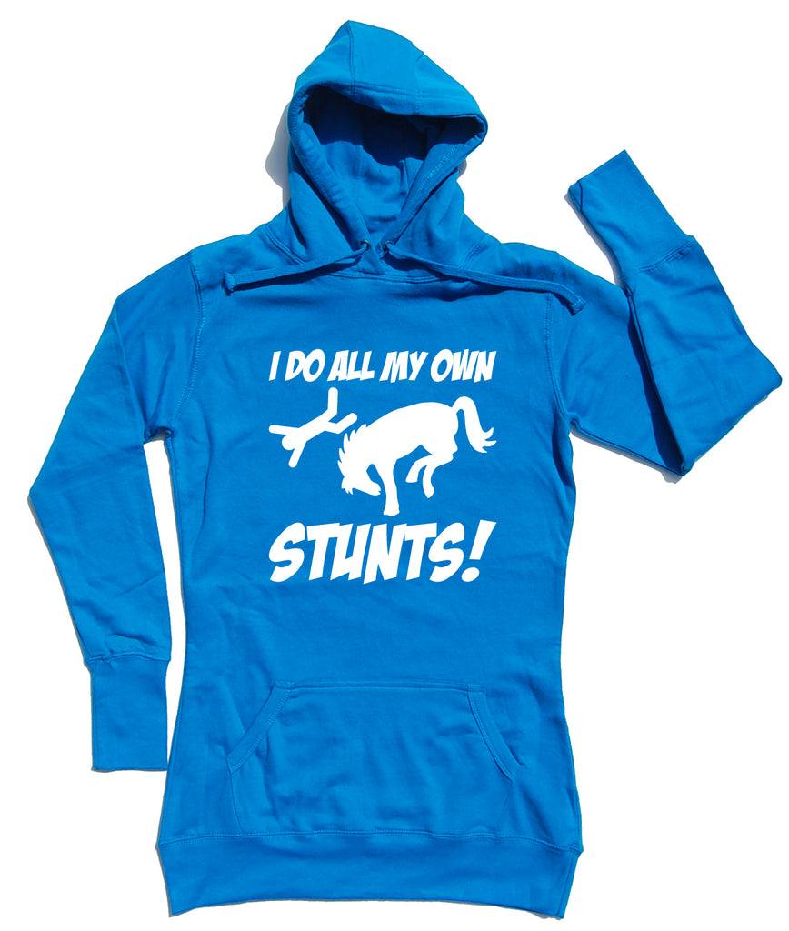 I Do All My Own Stunts Horse Riders Longline Hoodie - THREADS UP CLOTHING - T Shirts & Hoodies