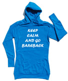 Keep Calm Bareback Horse Riders Longline Hoodie - THREADS UP CLOTHING - T Shirts & Hoodies