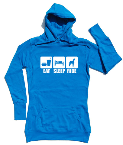 Eat Sleep Ride Horse Riders Longline Hoodie - THREADS UP CLOTHING - T Shirts & Hoodies