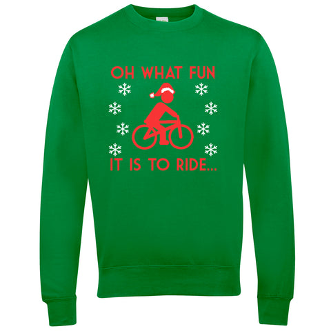 Oh What Fun It Is To Ride Cycling Xmas Christmas Jumper - WHAMHEAD CLOTHING - T Shirts & Hoodies