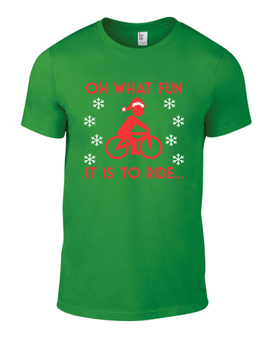 Oh What Fun It Is To Ride Cotton Cycling Xmas Christmas Mens T Shirt