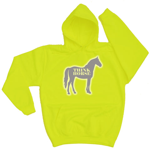 Think Horse Silhouette Reflective Horse Riders Hoodie - THREADS UP CLOTHING - T Shirts & Hoodies