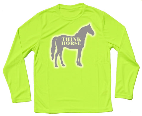Think Horse Silhouette Reflective Quick Dry Horse Riders Long Sleeve T Shirt - THREADS UP CLOTHING - T Shirts & Hoodies