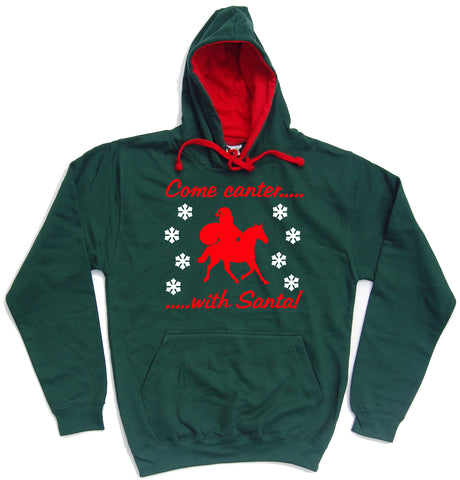 Come Canter With Santa Horse Riders Christmas Hoodie