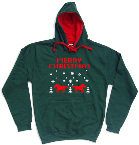 Merry Christmas Retro Horse Riders Christmas Hoodie - THREADS UP CLOTHING - T Shirts & Hoodies