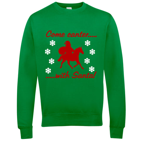Come Canter With Santa Horse Riders Christmas Jumper - THREADS UP CLOTHING - T Shirts & Hoodies