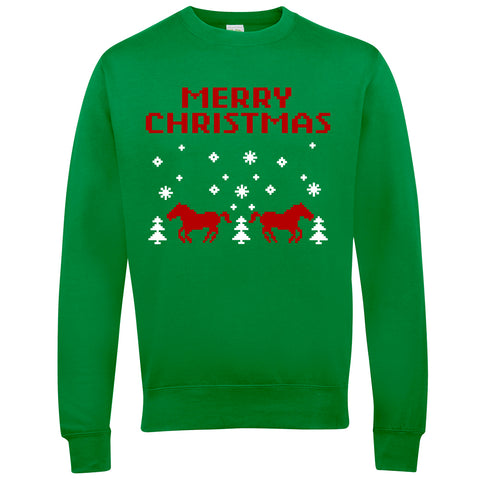 Merry Christmas Retro Horse Riders Christmas Jumper