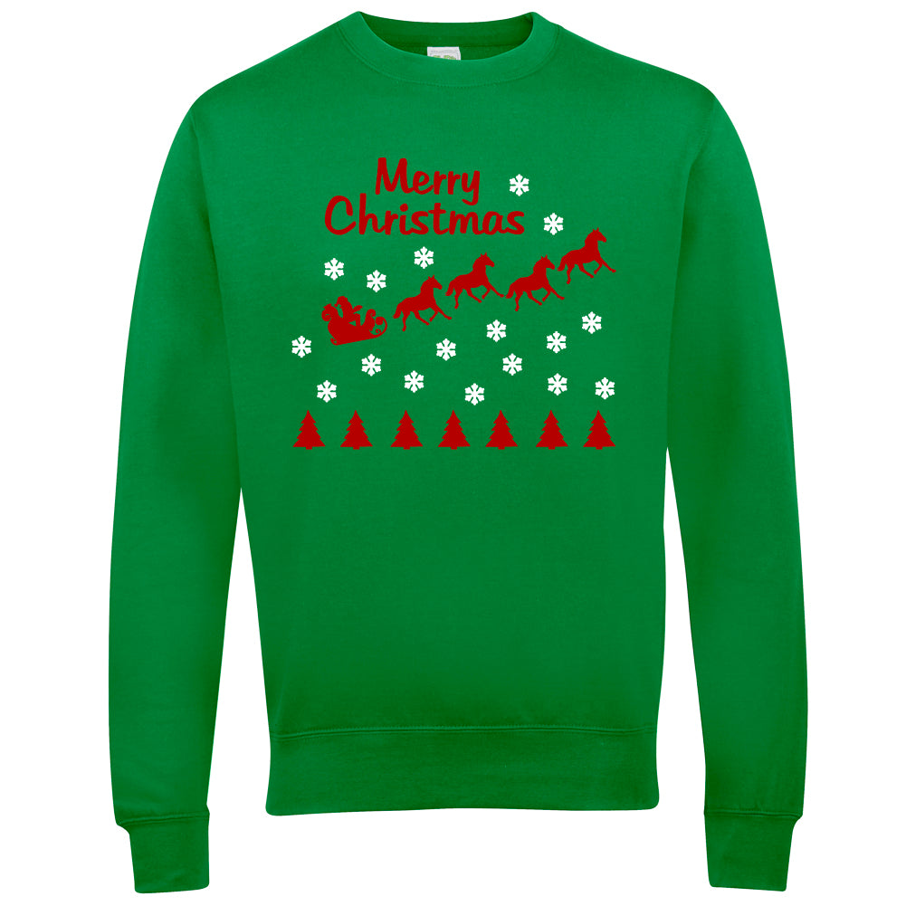 Merry Christmas Horse Riders Christmas Jumper - THREADS UP CLOTHING - T Shirts & Hoodies