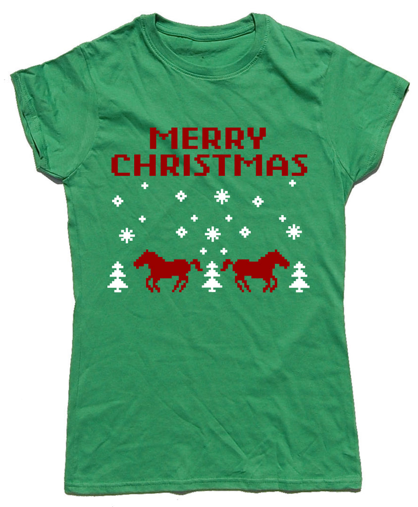 Merry Christmas Retro Fitted Cotton Horse Riders Christmas T Shirt - THREADS UP CLOTHING - T Shirts & Hoodies