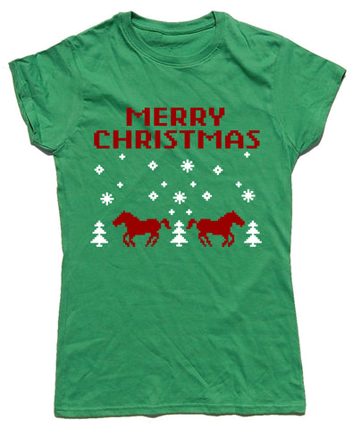 Merry Christmas Retro Fitted Cotton Horse Riders Christmas T Shirt