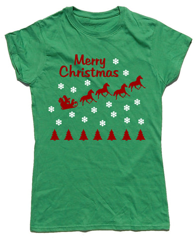 Merry Christmas Fitted Cotton Horse Riders Christmas T Shirt