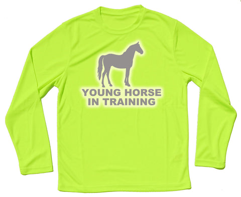 Young Horse In Training Reflective Quick Dry Horse Riders Long Sleeve T Shirt