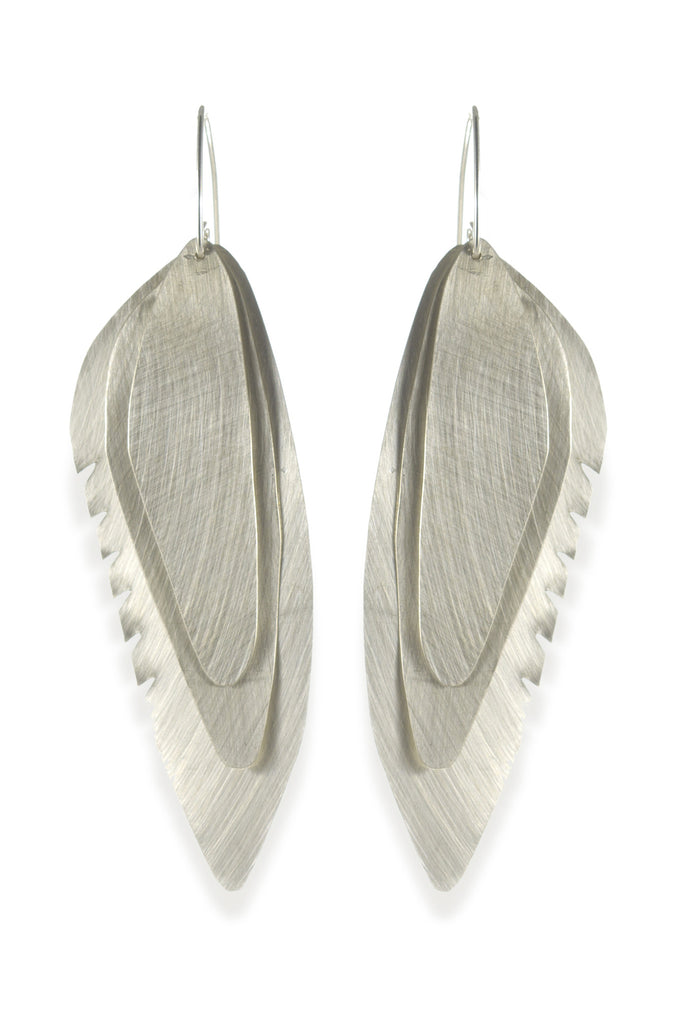 Wing Feather Earrings Large, Matte - Melissa Osgood Studio Store - 1
