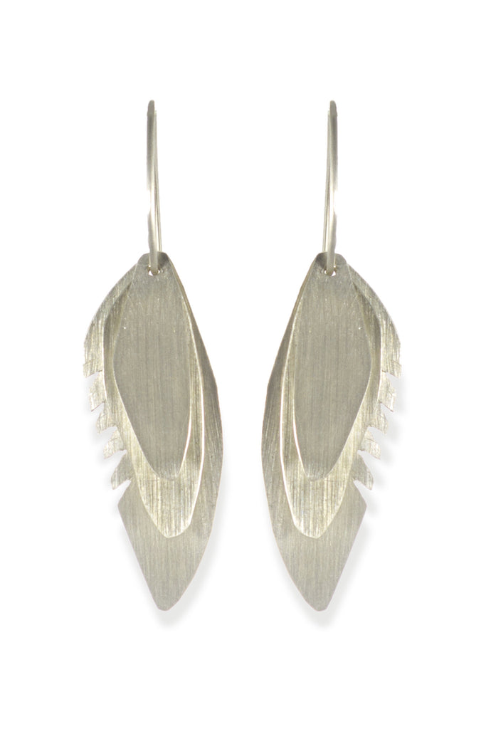 Wing Feather Earrings Small, Matte - Melissa Osgood Studio Store - 1