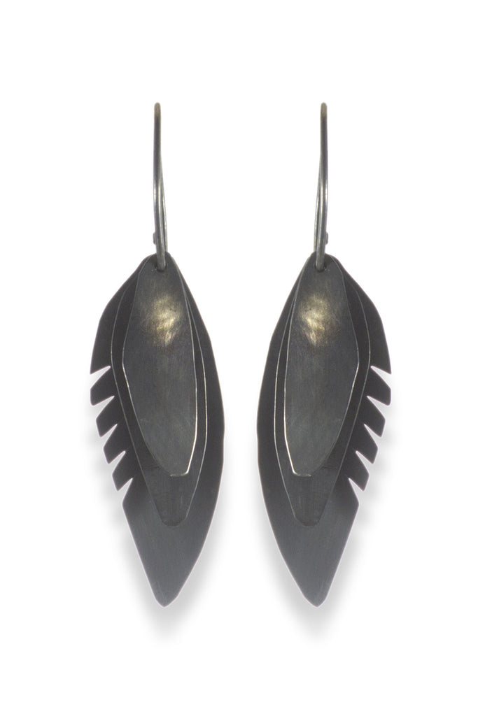 Wing Feather Earrings Small, Oxidized - Melissa Osgood Studio Store - 1