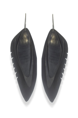 Wing Feather Earrings Large, Oxidized - Melissa Osgood Studio Store - 1