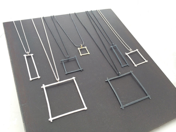 Compartment Rectangle Pendant, Oxidized - Melissa Osgood Studio Store - 2