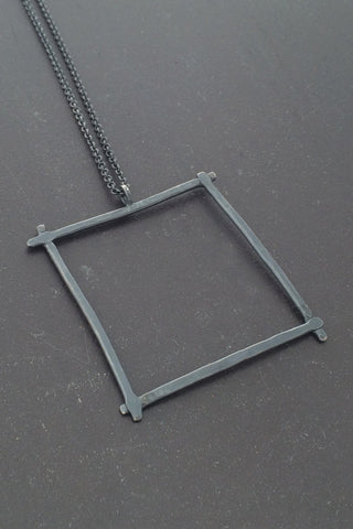 Compartment Large Square Pendant, Oxidized - Melissa Osgood Studio Store - 1