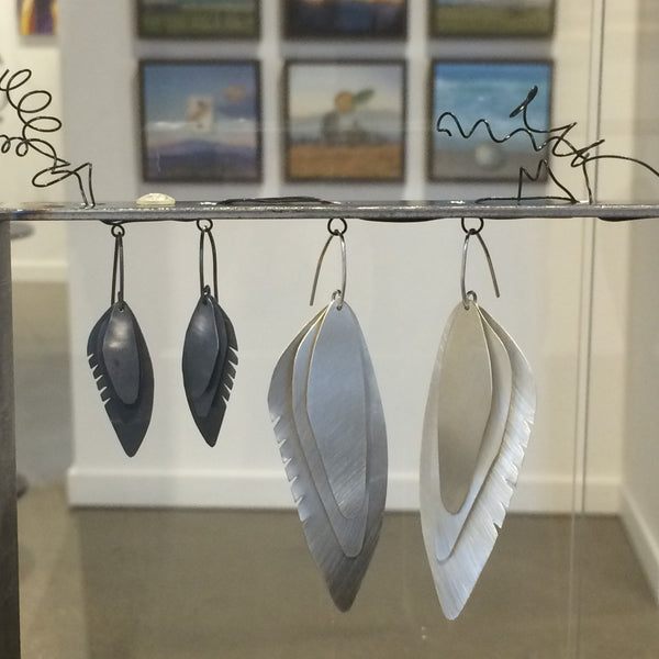 Wing Feather Earrings Small, Oxidized - Melissa Osgood Studio Store - 2