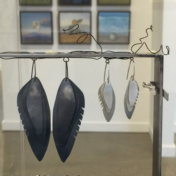 Wing Feather Earrings Large, Oxidized - Melissa Osgood Studio Store - 2