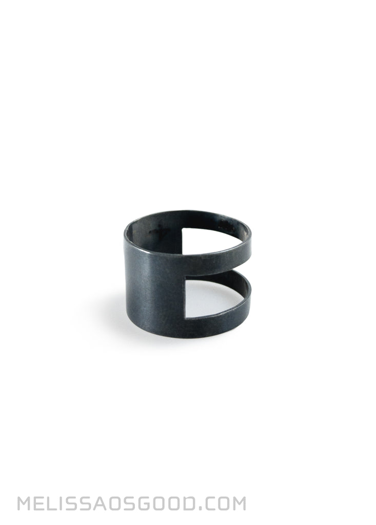 Banded Ring Oxidized Silver, LOW Profile