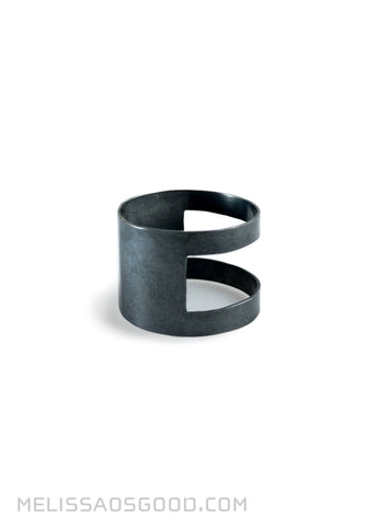 Banded Ring Oxidized Silver, MEDIUM Profile